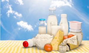 蓝天白云与牛奶鸡蛋等摄影高清图片