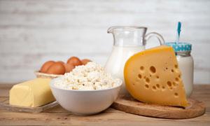 鸡蛋奶酪与黄油牛奶等摄影高清图片