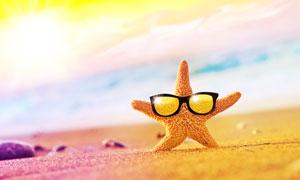 瑰丽云彩与戴着眼镜的海星高清图片