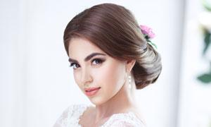 蕾丝婚纱礼服新娘美女摄影高清图片