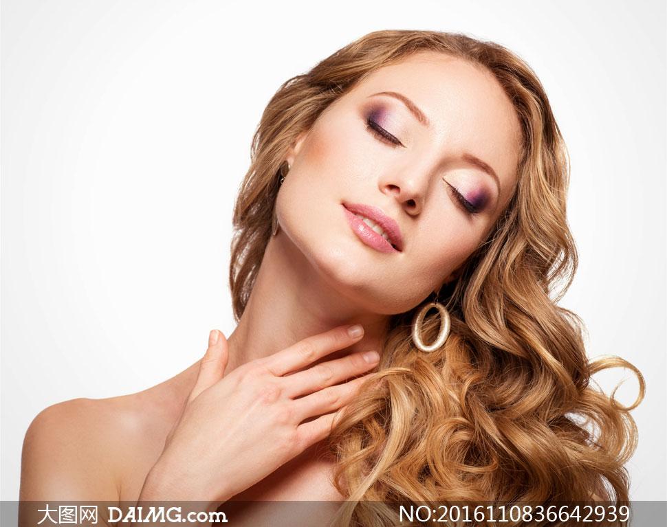 彩妆摄影海报图片高清卷发美女眼部-大图网设韩国披肩天团美女图片