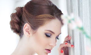 盘头发型新娘美女写真摄影高清图片
