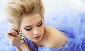 上好妆的性感美女新娘摄影高清图片