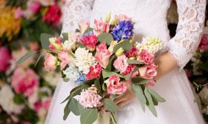 在新娘手里的鲜花特写摄影高清图片