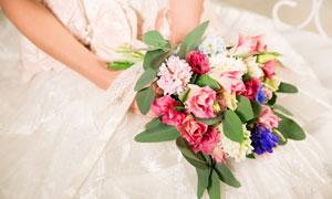 新娘手里的花近景特写摄影高清图片