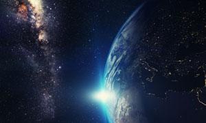 地球光效与浩渺星空等创意高清图片
