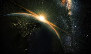 浩瀚星空中的地球与太阳光高清图片
