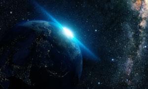 夜晚中的地球与深邃的星空高清图片