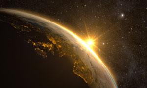 白昼与黑夜之下的地球创意高清图片