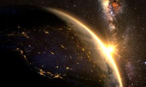 正慢慢被陽光照耀到的地球高清圖片