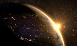 升起的太陽與點點繁星創意高清圖片