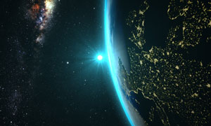 深邃宇宙星空與太陽地球等高清圖片