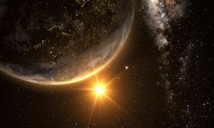 地球上空耀眼的太阳光创意高清图片