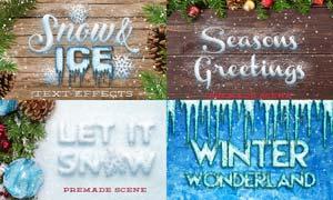 冬季雪花和冰冻艺术字PSD模板