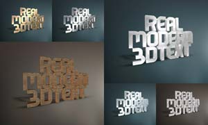质感的3D立体字设计PSD模板