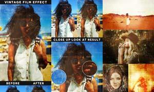 照片添加怀旧电影艺术效果PSD模板