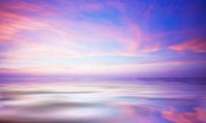 大海风景与瑰丽的云彩摄影高清图片
