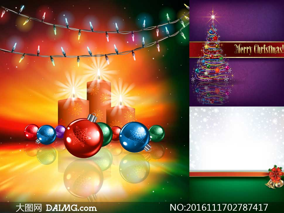 彩灯蜡烛与圣诞球等圣诞节矢量素材