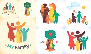 简约风格创意家庭人物标志矢量素材