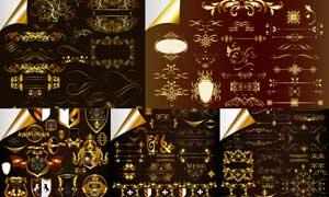 金色华丽花纹装饰元素主题矢量素材