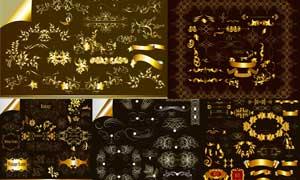 金色尊贵华丽效果边框装饰矢量素材