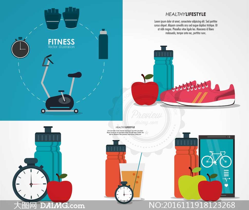 扁平化健身运动主题创意矢量图v10
