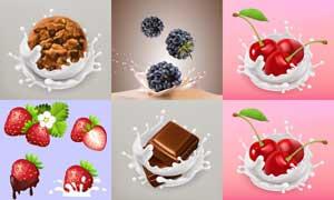 逼真水果与溅起的牛奶等矢量素材V2