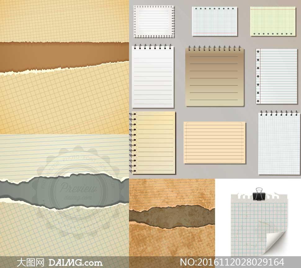 格子纸张与逼真撕纸效果等矢量素材