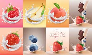 逼真水果与溅起的牛奶等矢量素材V1