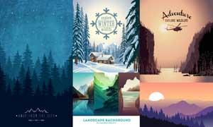 山峦树木与雪景等自然风光矢量素材
