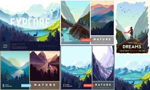 湖光山色自然风景与剪影等矢量素材