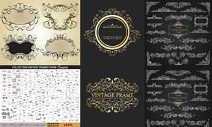 欧式边框花纹装饰图案元素矢量素材