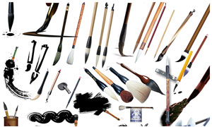 中国传统毛笔集合PSD分层素材