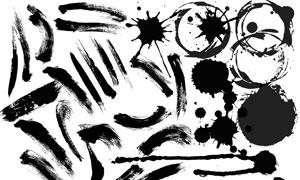 中国风水墨笔刷和喷溅墨迹PSD素材