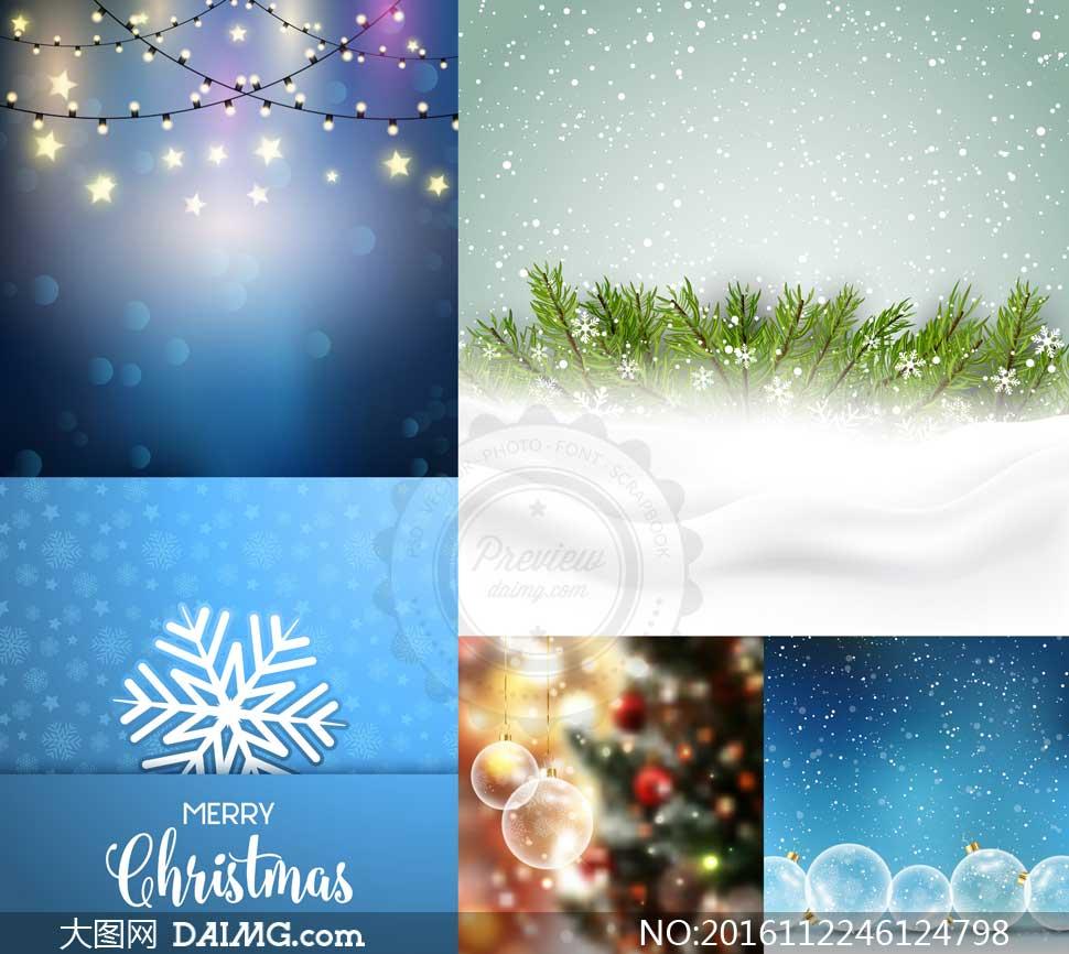 雪花树枝与透明圣诞球创意矢量素材
