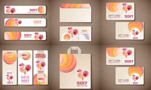 公鸡图案装饰的信封卡片等矢量素材