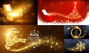 金色光效装饰的礼物等创意矢量素材