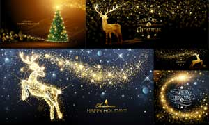 金色星光装饰的圣诞节主题矢量素材