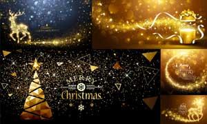 金色星光驯鹿与圣诞树创意矢量素材