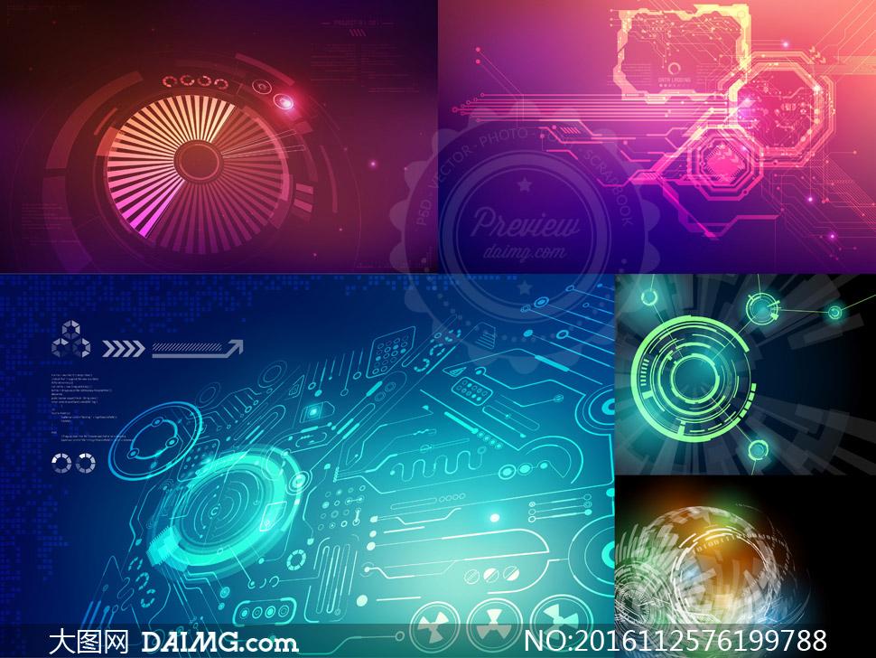 未来科技风格背景主题创意矢量图v3图片