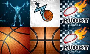 半调网屏元素与篮球等创意矢量素材