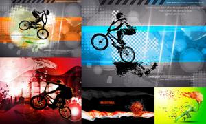 火炬人物与自行车运动创意矢量素材