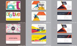 色彩鲜亮的商务名片设计矢量素材V2