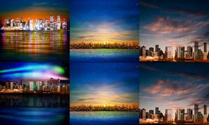 海边的城市城市建筑物夜景矢量素材