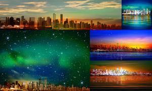 璀璨星空夜景与城市建筑物矢量素材