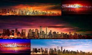 城市建筑物与天空风光全景矢量素材
