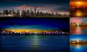 城市的建筑群风光全景视角矢量素材