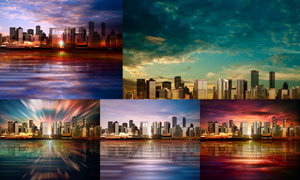 黄昏时分的城市建筑物风光矢量素材