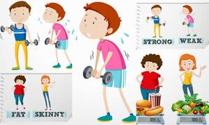瘦身减脂与饮食摄入等主题矢量素材