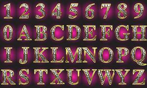 镶钻效果英文字母与数字等矢量素材